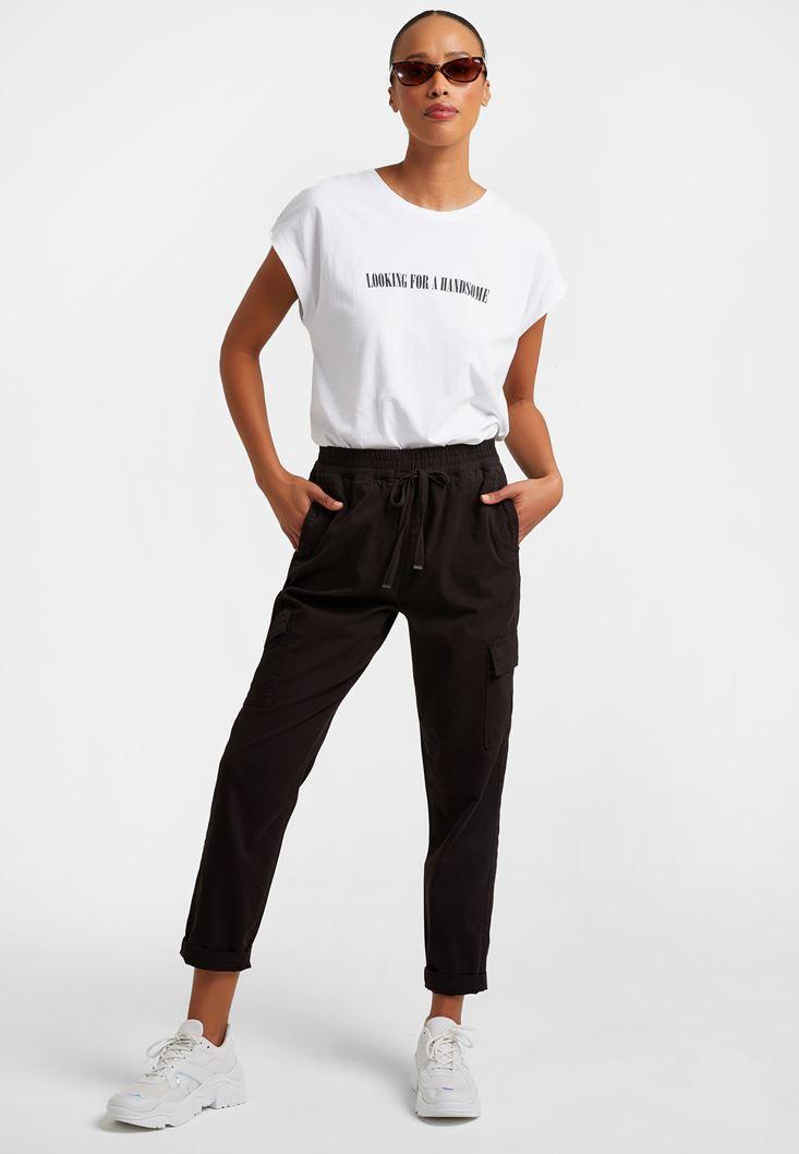 Siyah Cep Detaylı Kargo Pantolon