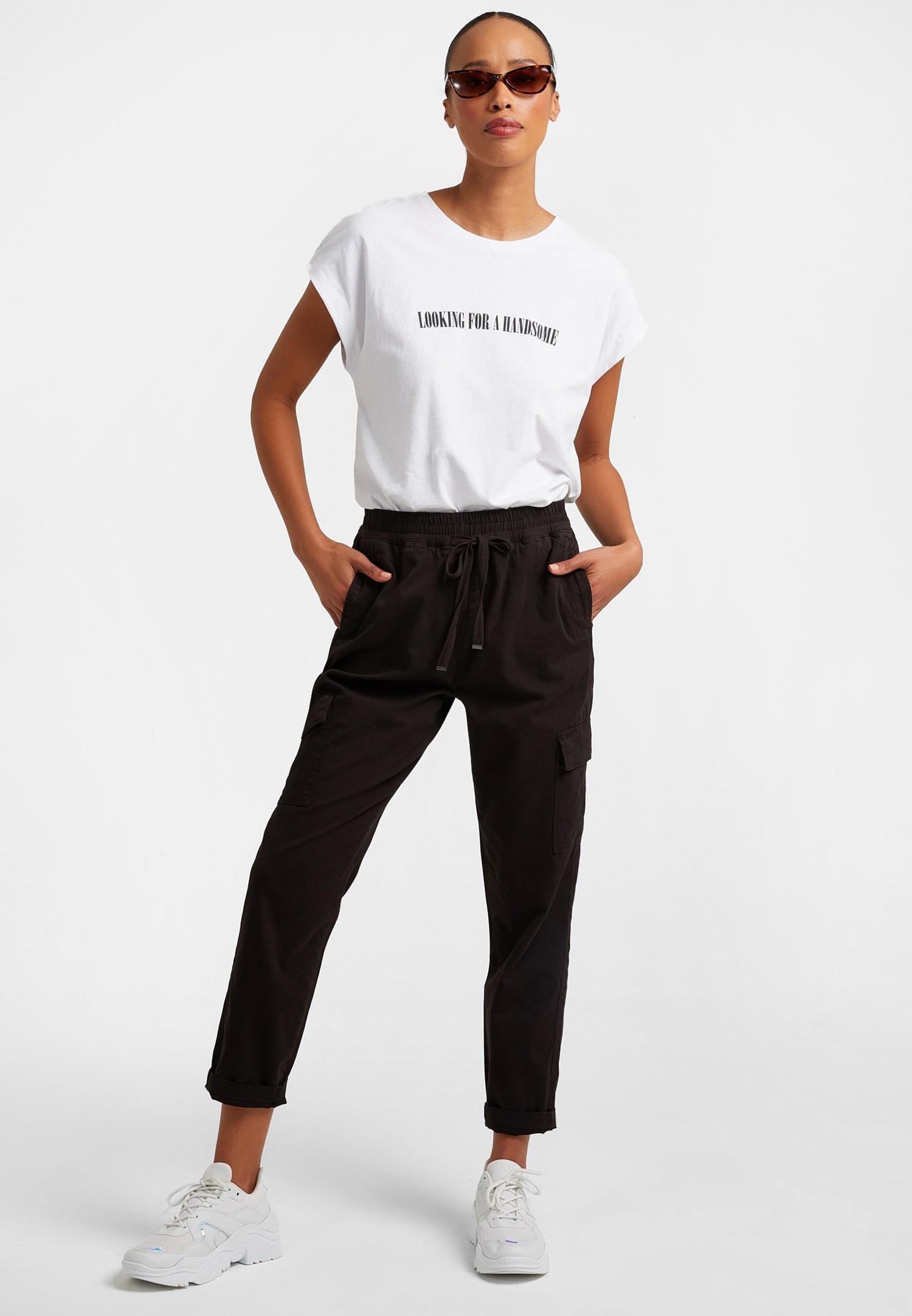 Bayan Siyah Cep Detaylı Kargo Pantolon