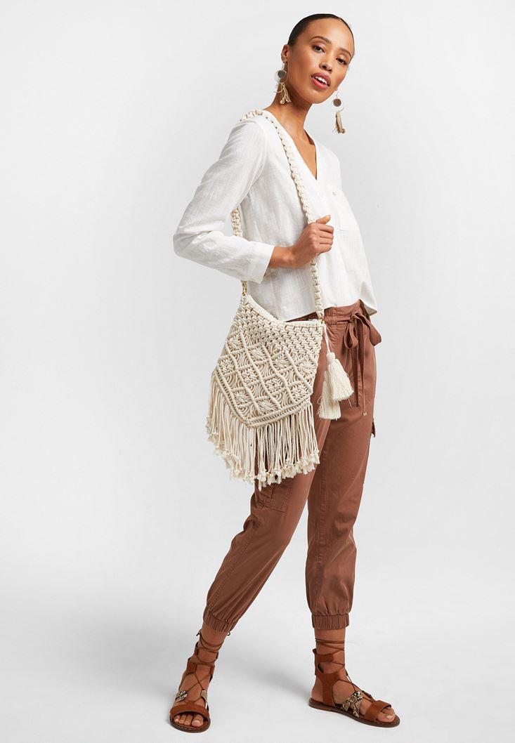 Kahverengi Beli Lastik Detaylı Kargo Pantolon