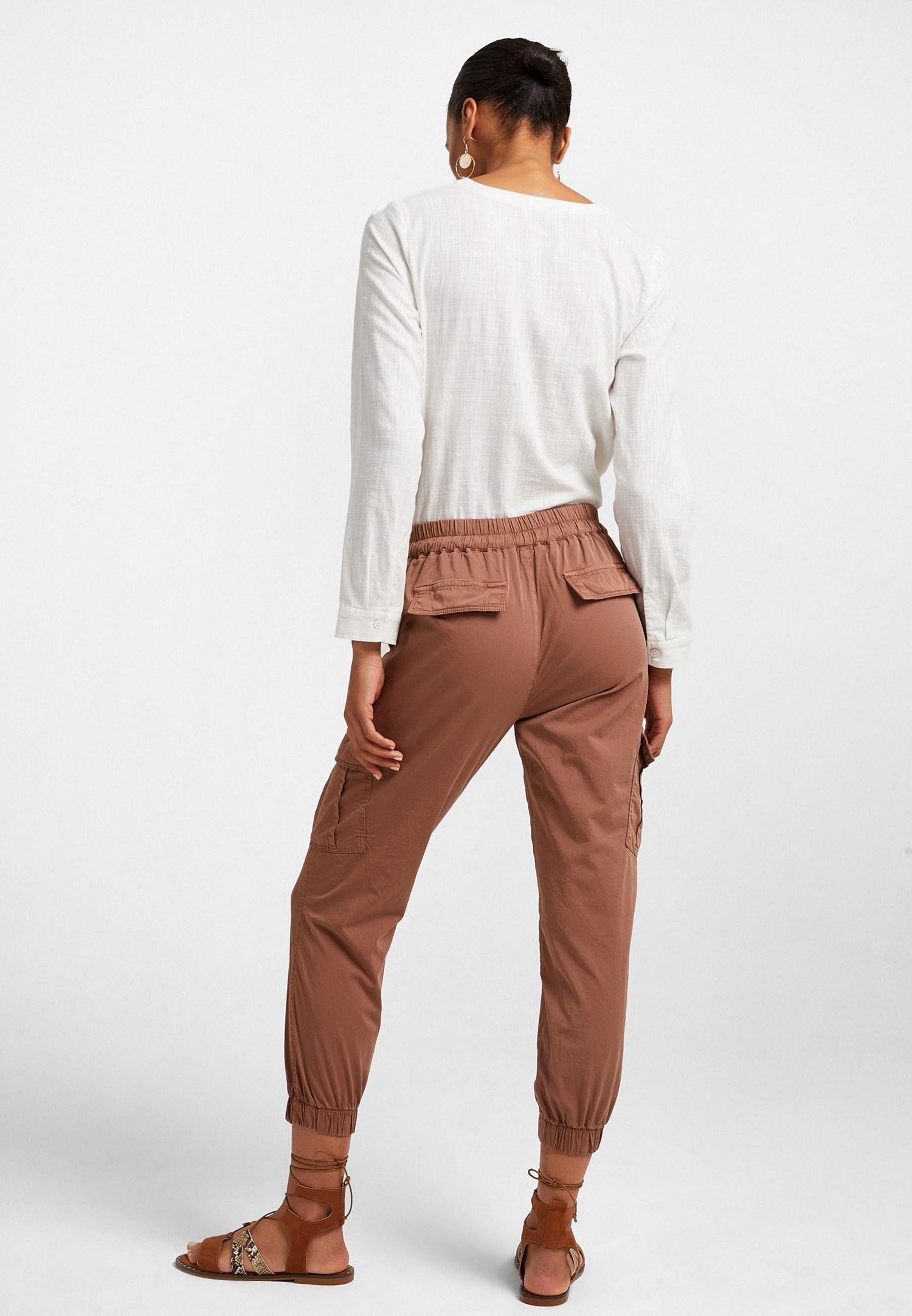 Bayan Kahverengi Beli Lastik Detaylı Kargo Pantolon