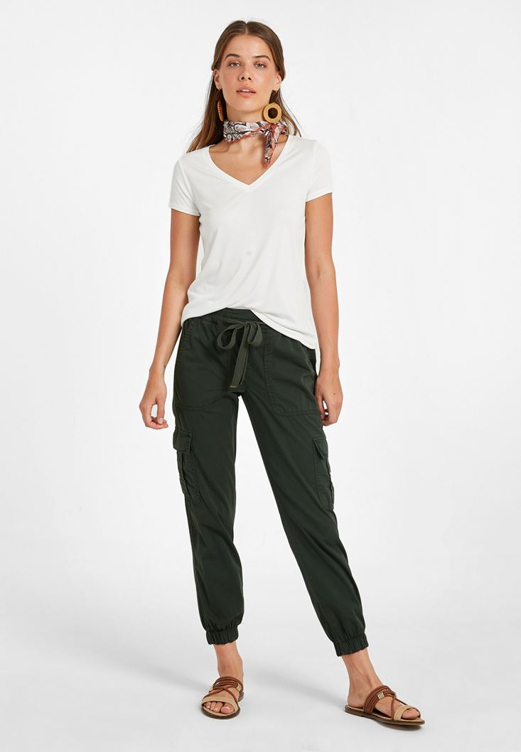 Yeşil Beli Lastik Detaylı Kargo Pantolon