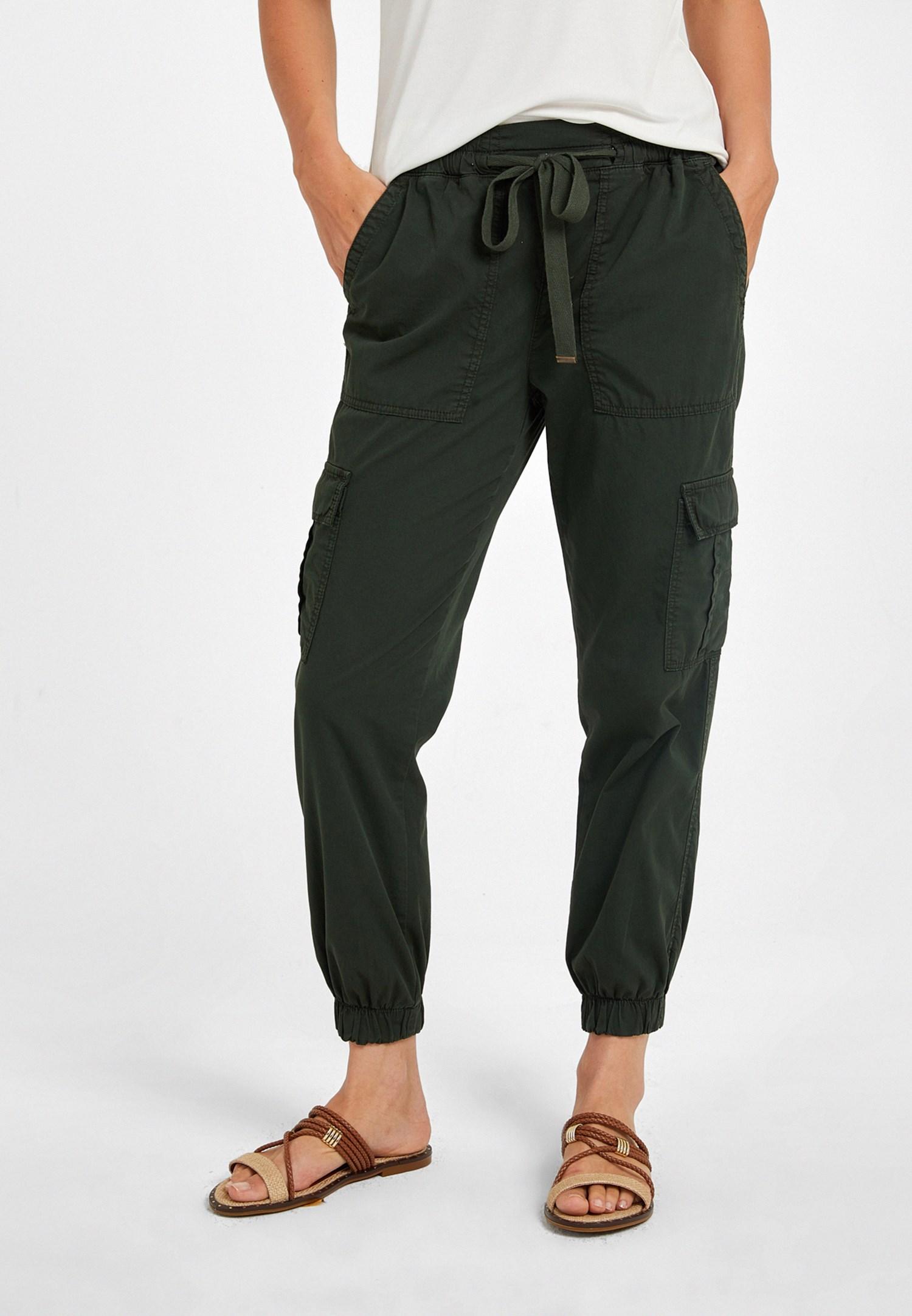 Bayan Yeşil Beli Lastik Detaylı Kargo Pantolon