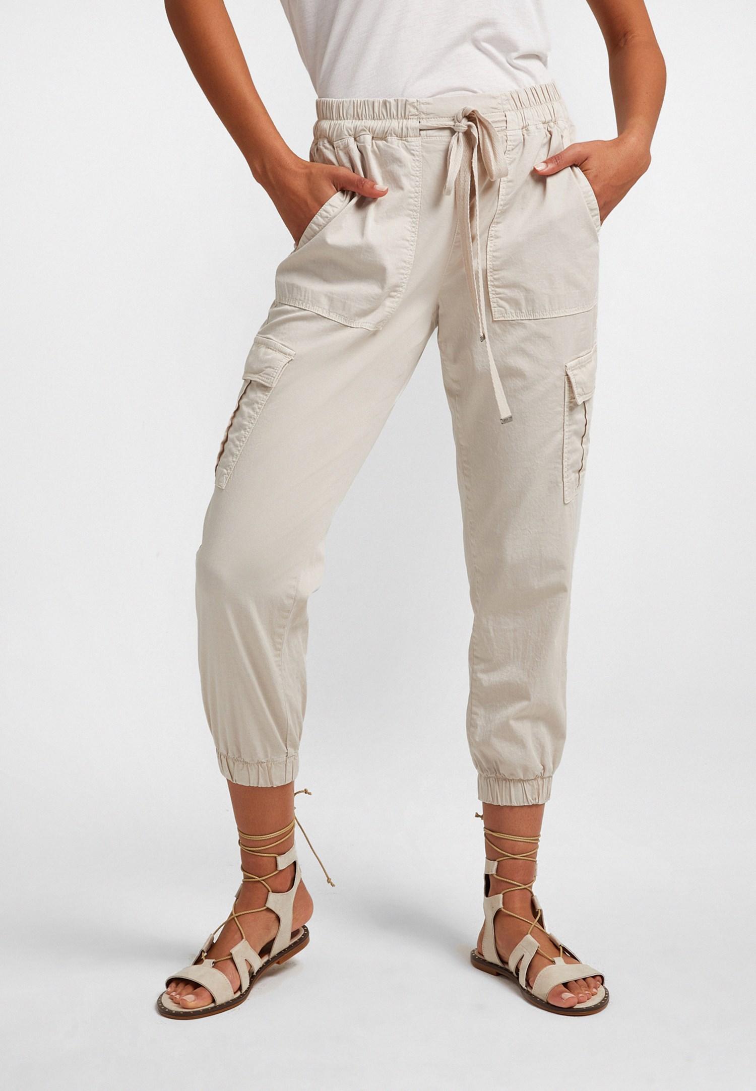 Bayan Krem Beli Lastik Detaylı Kargo Pantolon