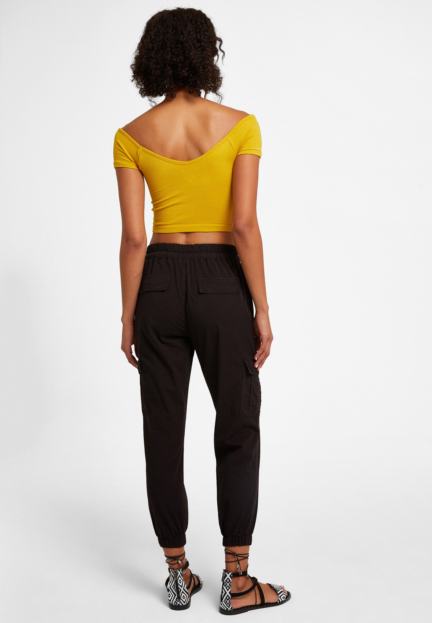 Bayan Siyah Beli Lastik Detaylı Kargo Pantolon