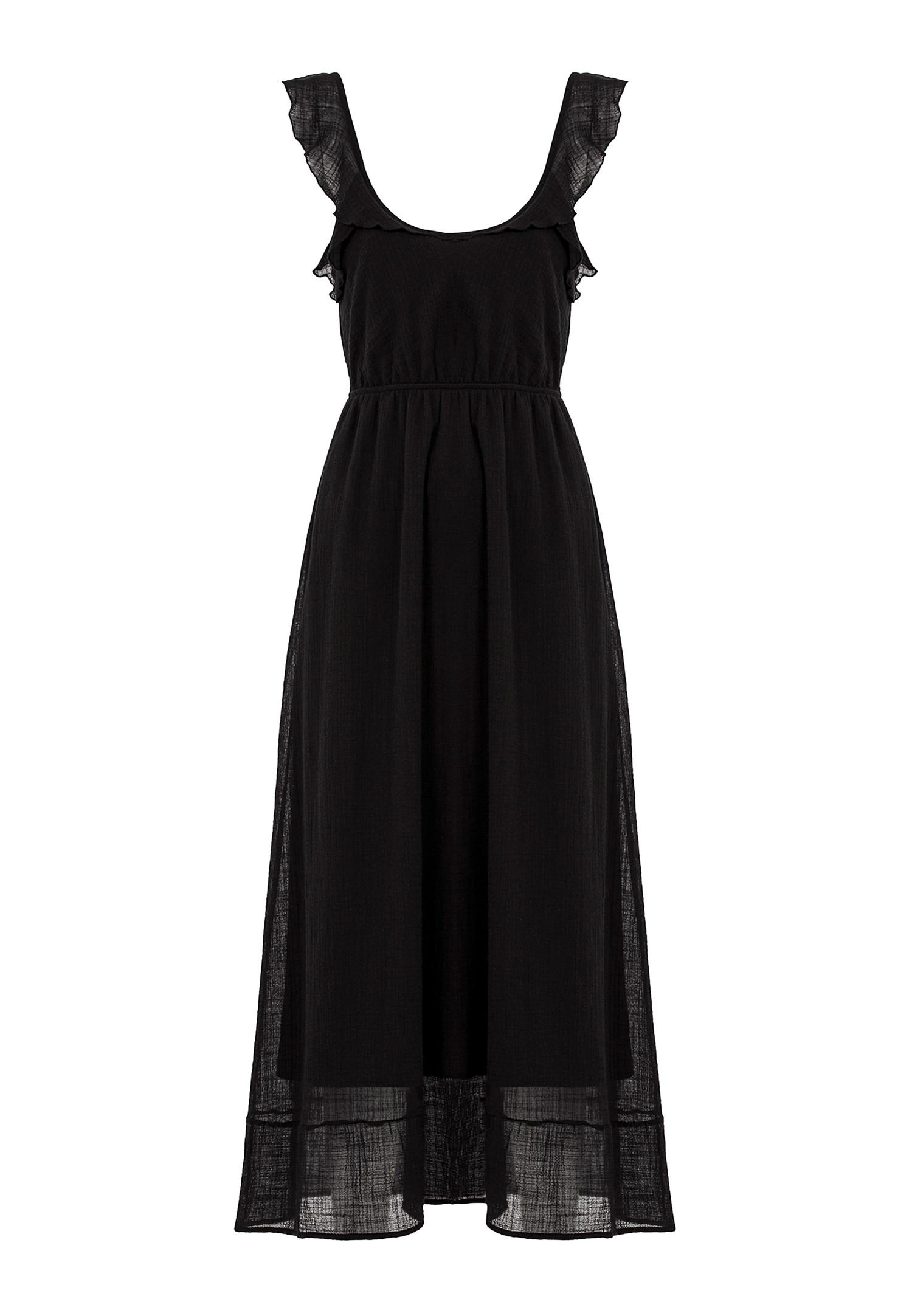 Bayan Siyah Sırt Detaylı Uzun Elbise