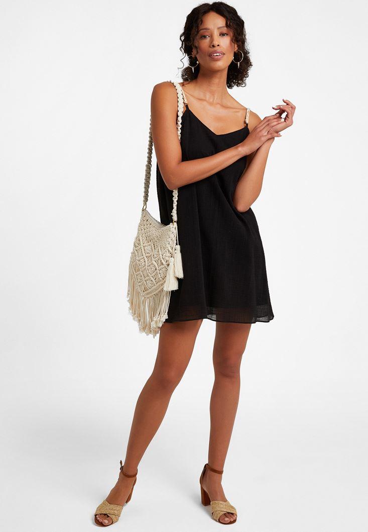 Siyah Askı Detaylı Mini Elbise