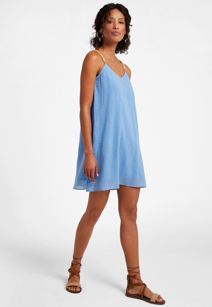 Mavi Askı Detaylı Mini Elbise