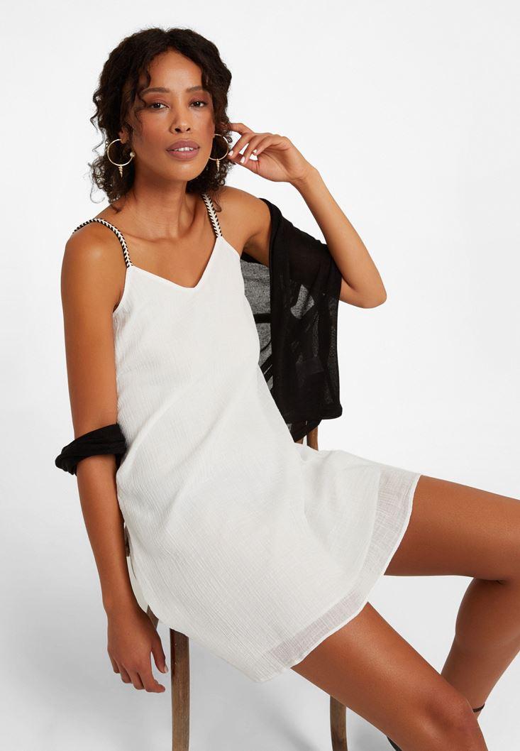 Krem Askı Detaylı Mini Elbise