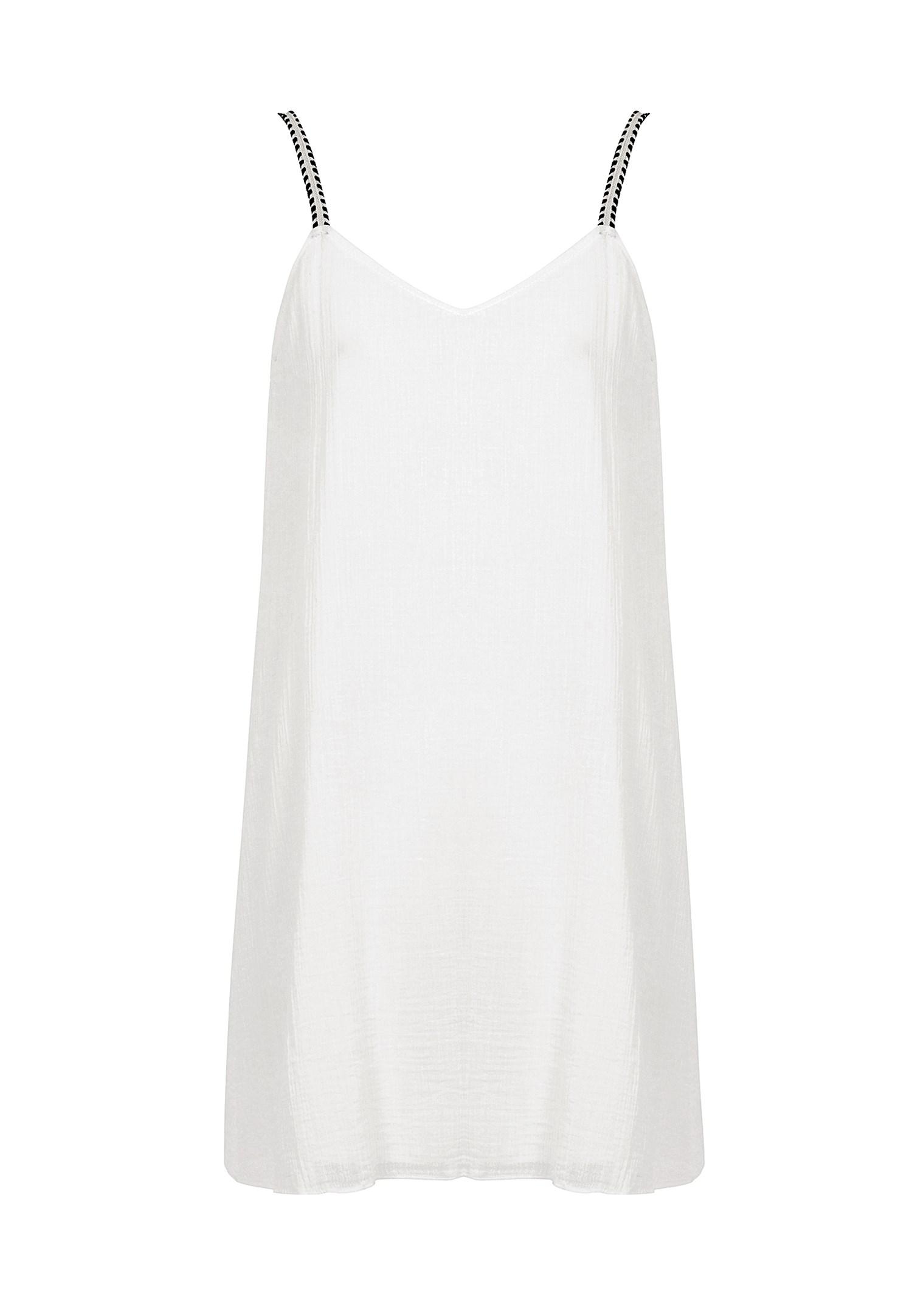 Bayan Krem Askı Detaylı Mini Elbise