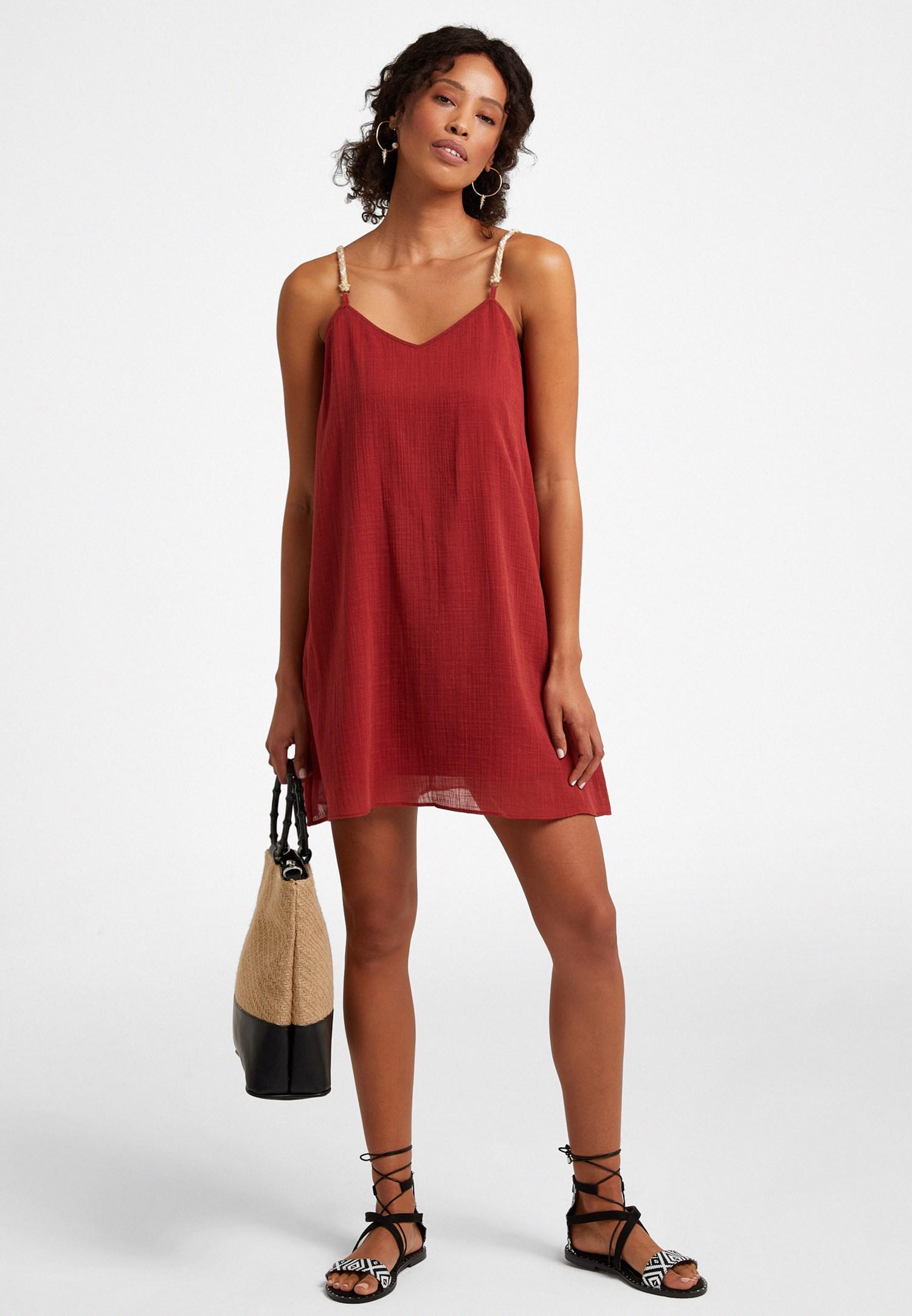 Bayan Bordo Askı Detaylı Mini Elbise