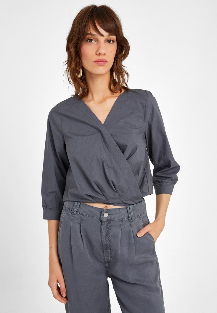 Gri Kruvaze Detaylı Bluz