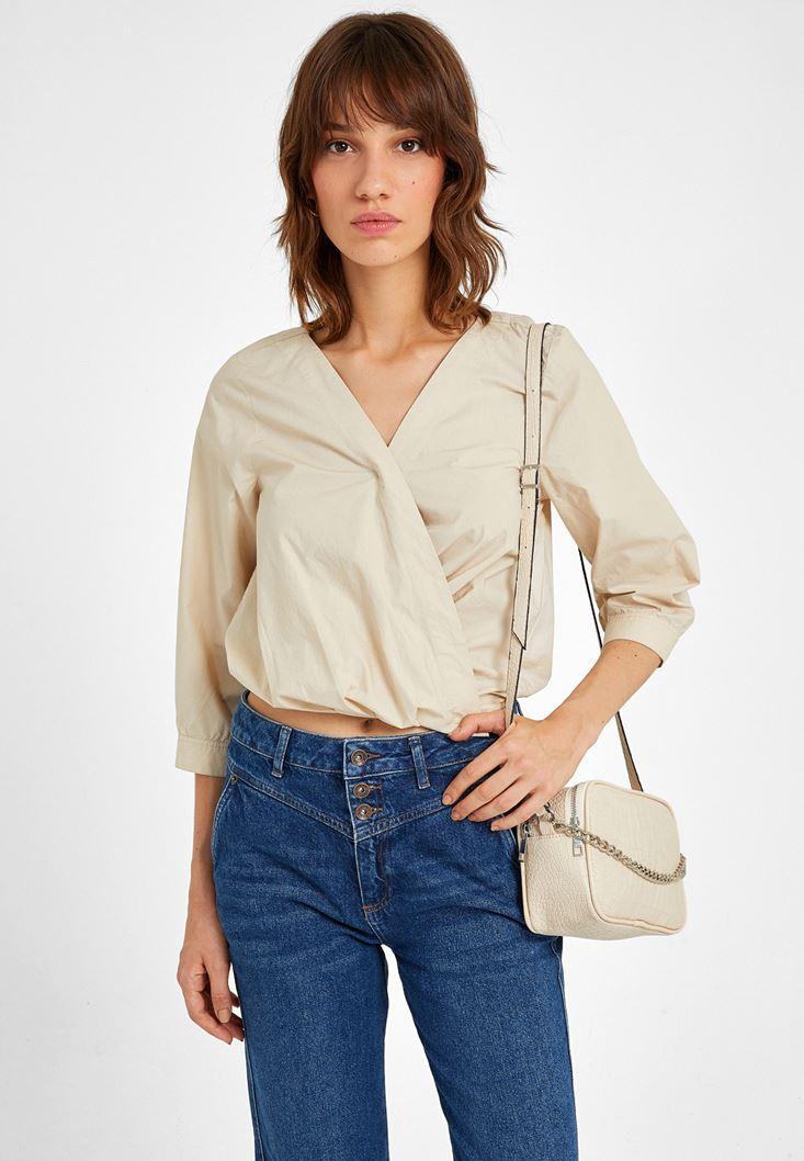 Krem Kruvaze Detaylı Bluz