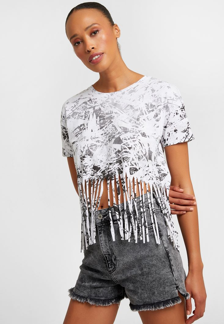 White Printed Fringe T-Shirt