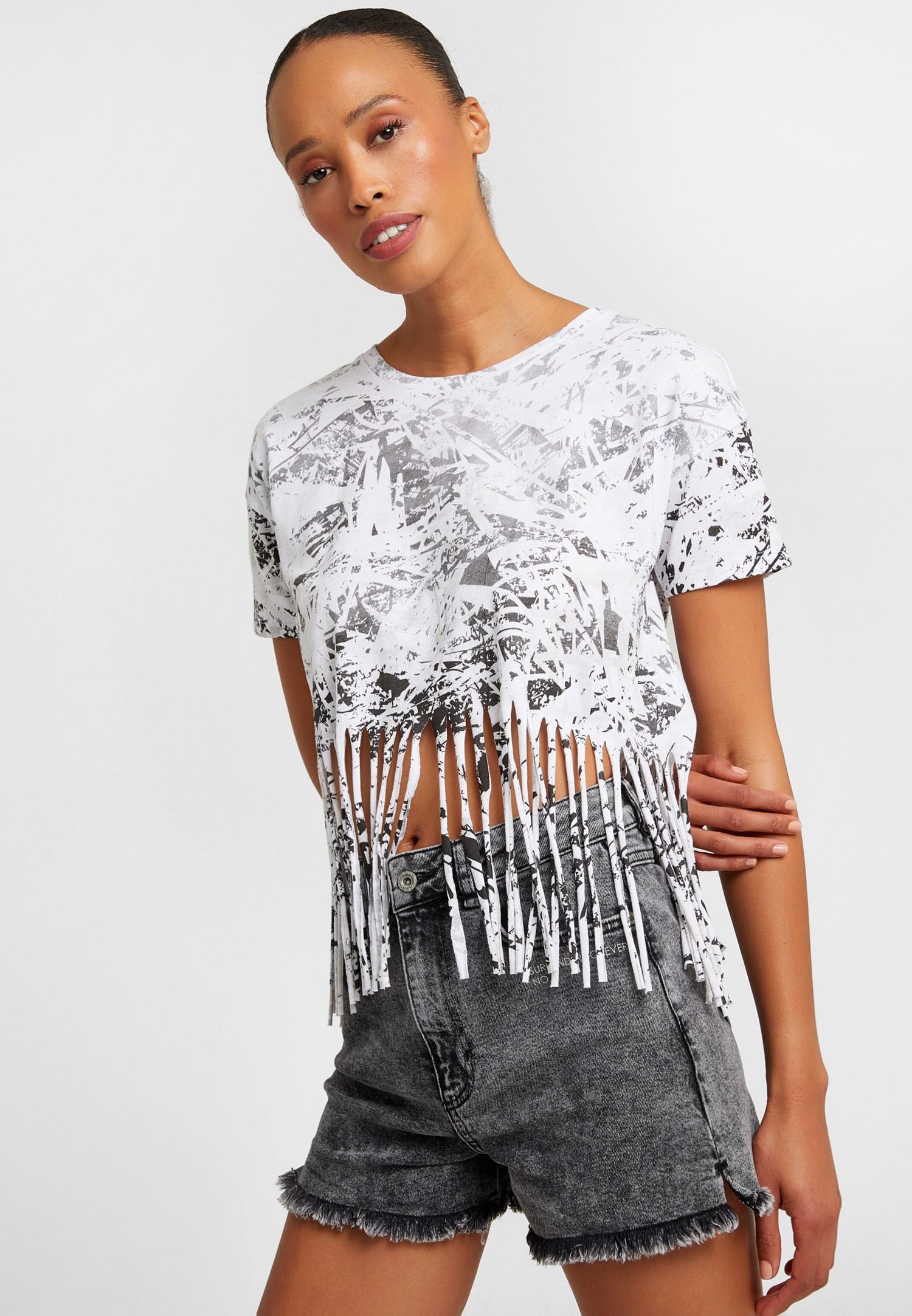 Bayan Beyaz Baskılı Kısa Tişört