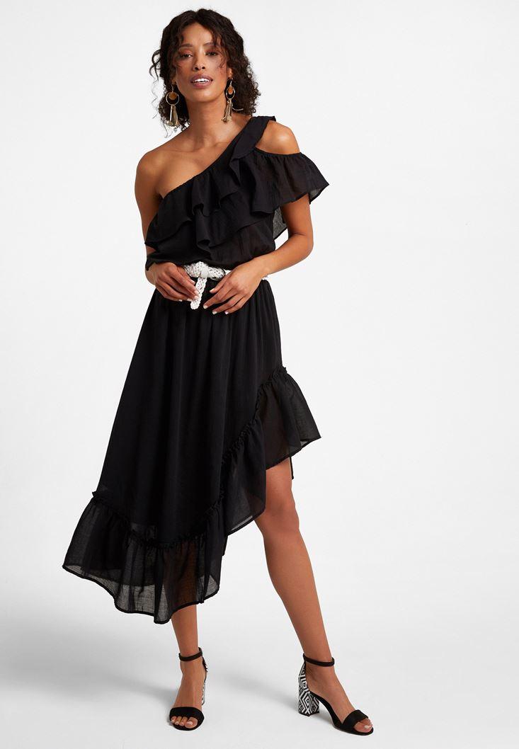 Siyah Tek Omuz Asimetrik Kesim Elbise