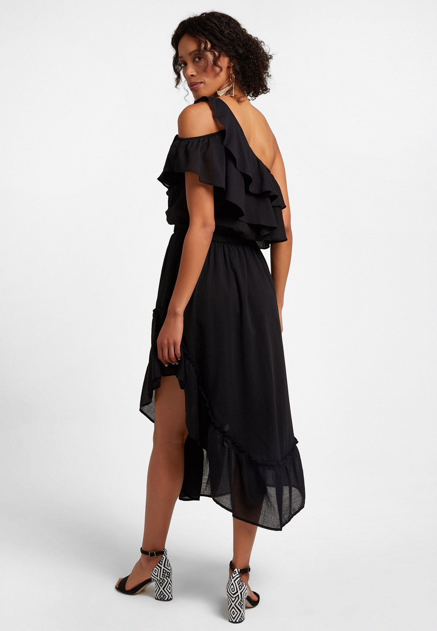 Bayan Siyah Tek Omuz Asimetrik Kesim Elbise