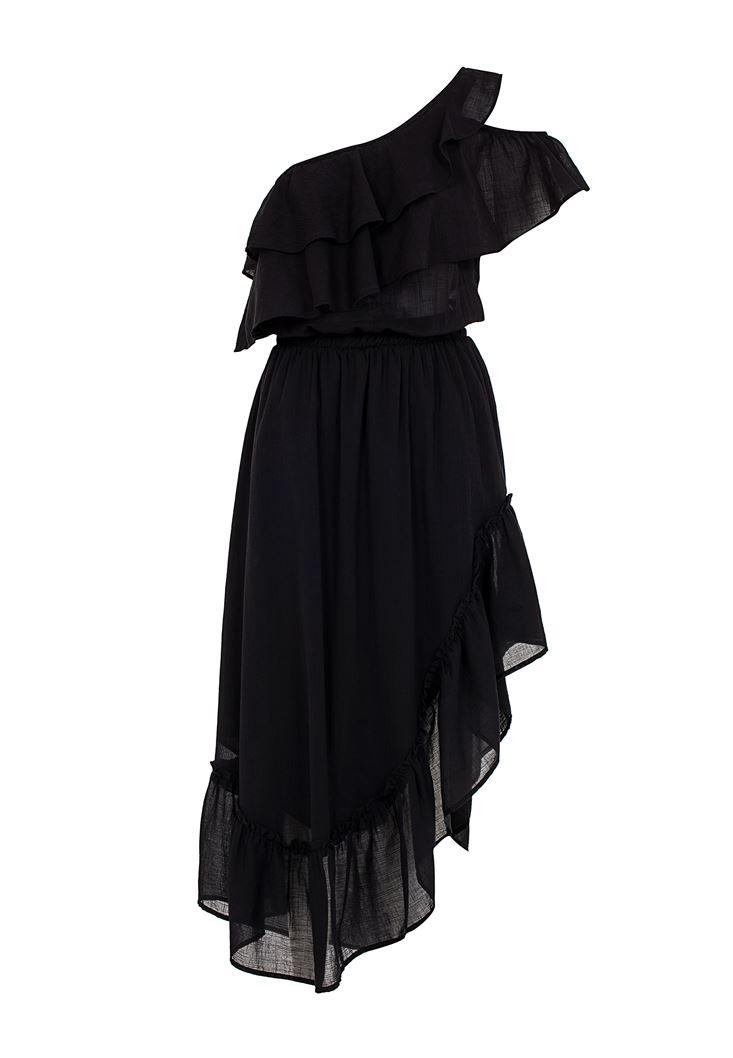 Tek Omuz Asimetrik Kesim Elbise