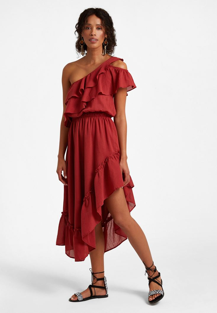 Bordeaux One-Shoulder Asymetric Dress