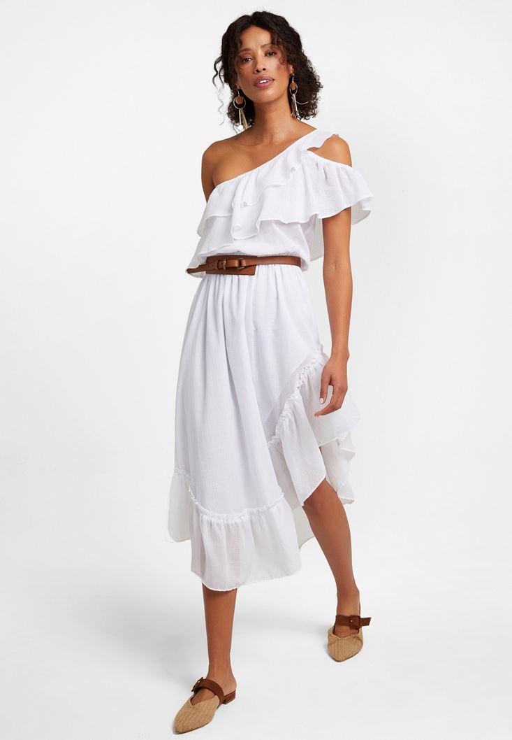 Beyaz Tek Omuz Asimetrik Kesim Elbise