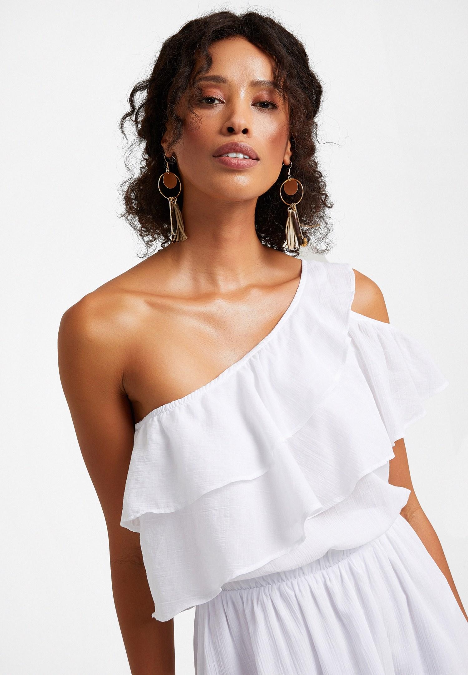 Bayan Beyaz Tek Omuz Asimetrik Kesim Elbise