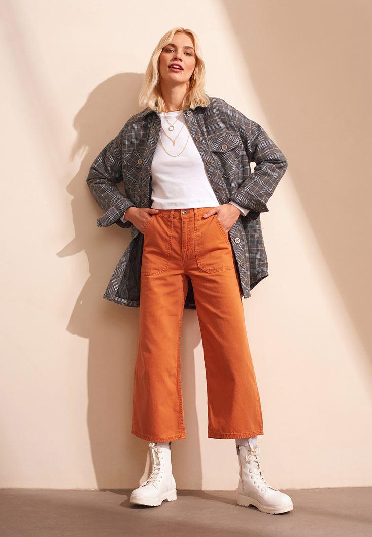 Turuncu Yüksek Bel Bol Paça Pantolon