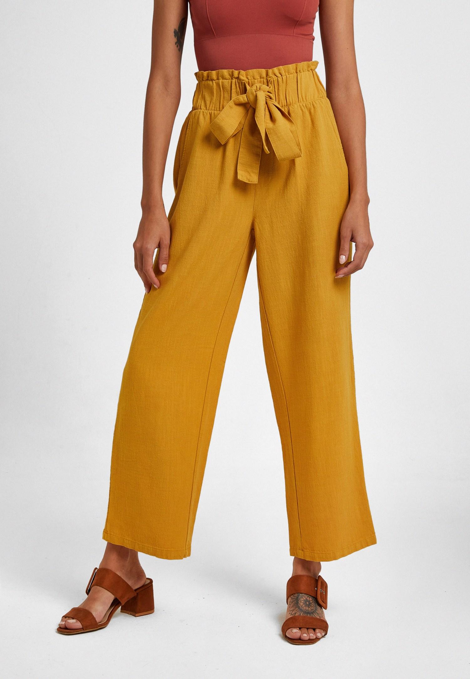 Bayan Sarı Beli Lastikli Culotte Pantolon