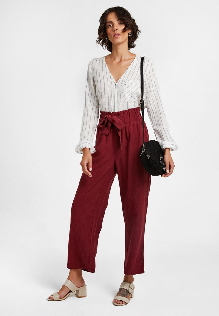 Beli Lastikli Culotte Pantolon ve Çizgili Gömlek Kombini