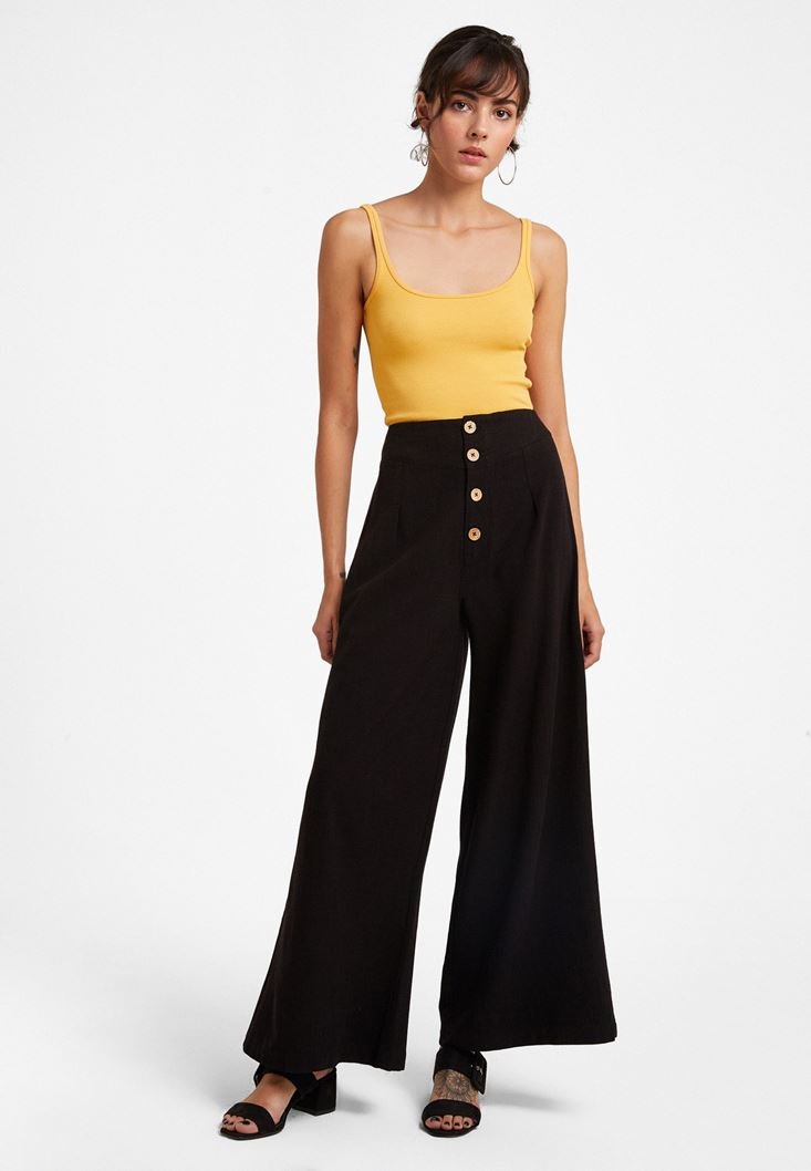 Black Buttoned High Rise Trousers