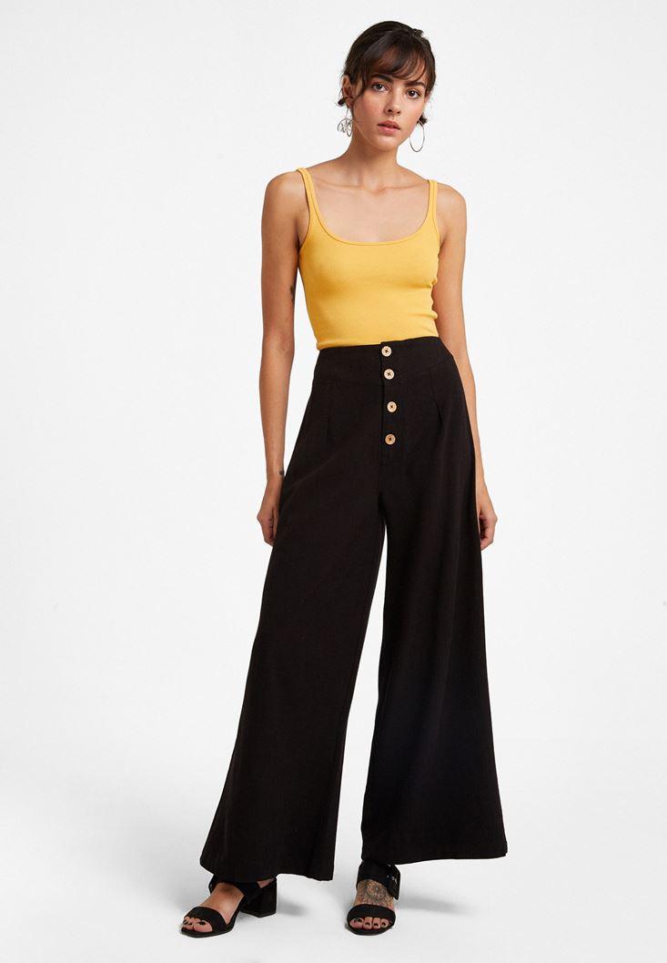 Siyah Düğme Detaylı Yüksel Bel Pantolon