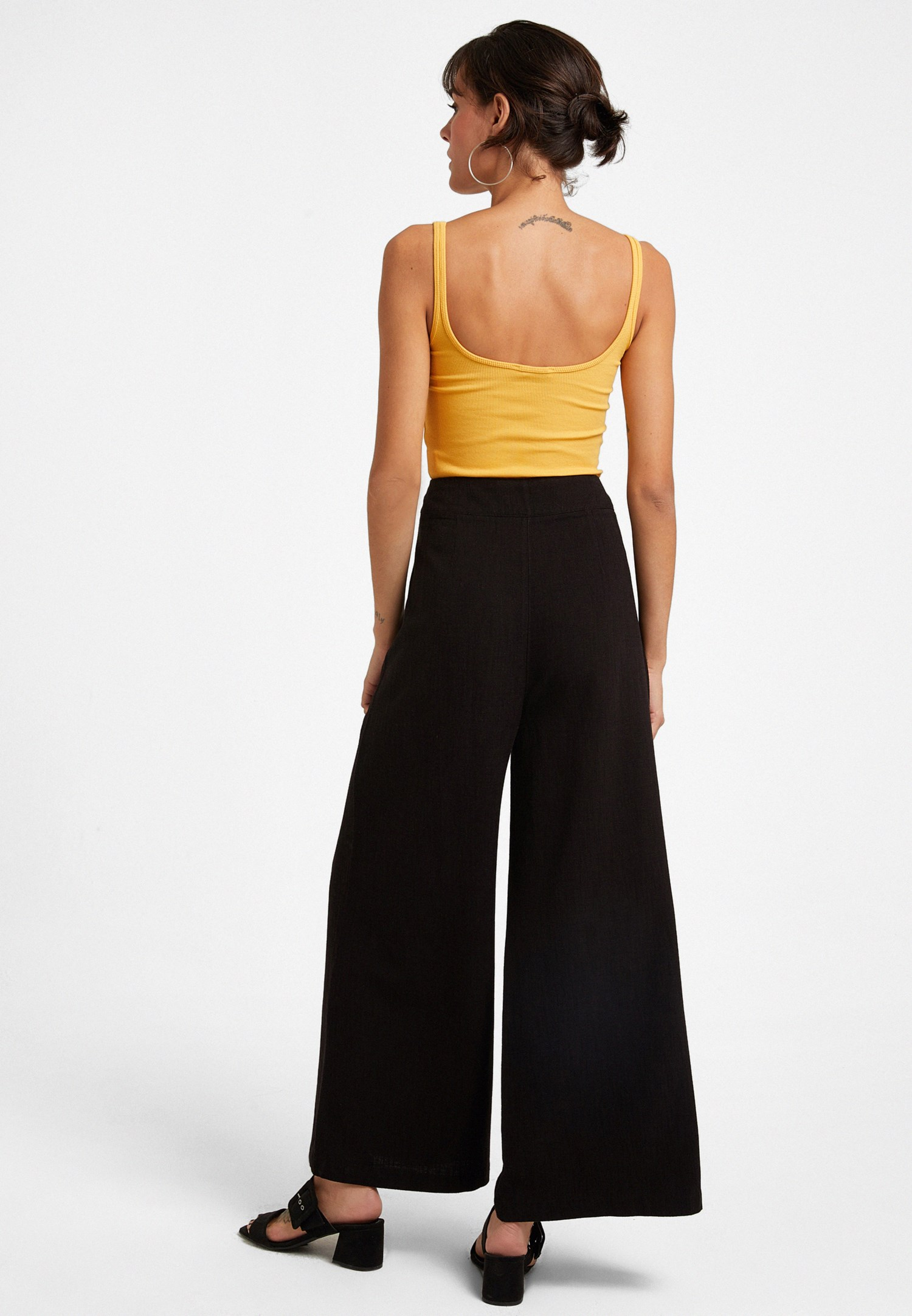 Women Black Buttoned High Rise Trousers