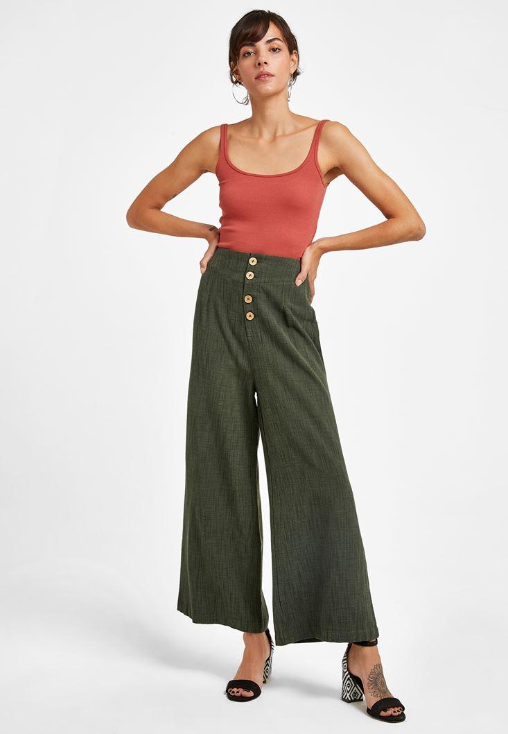 Yeşil Düğme Detaylı Yüksel Bel Pantolon