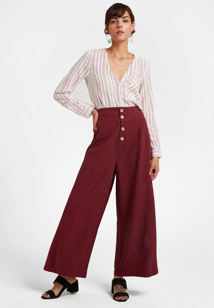 Bordeaux Buttoned High Rise Trousers