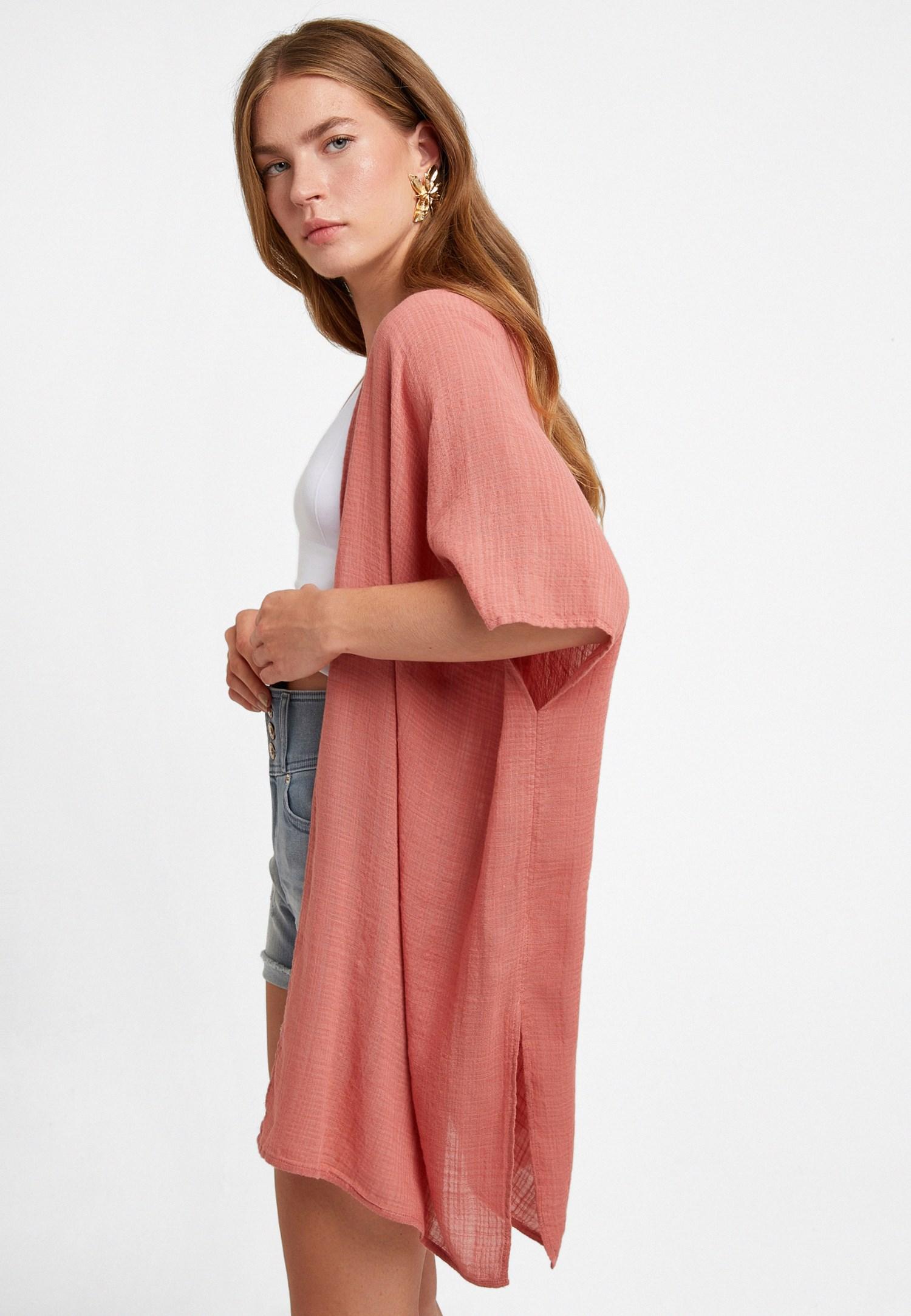 Bayan Pembe Doğal Görünümlü Kimono