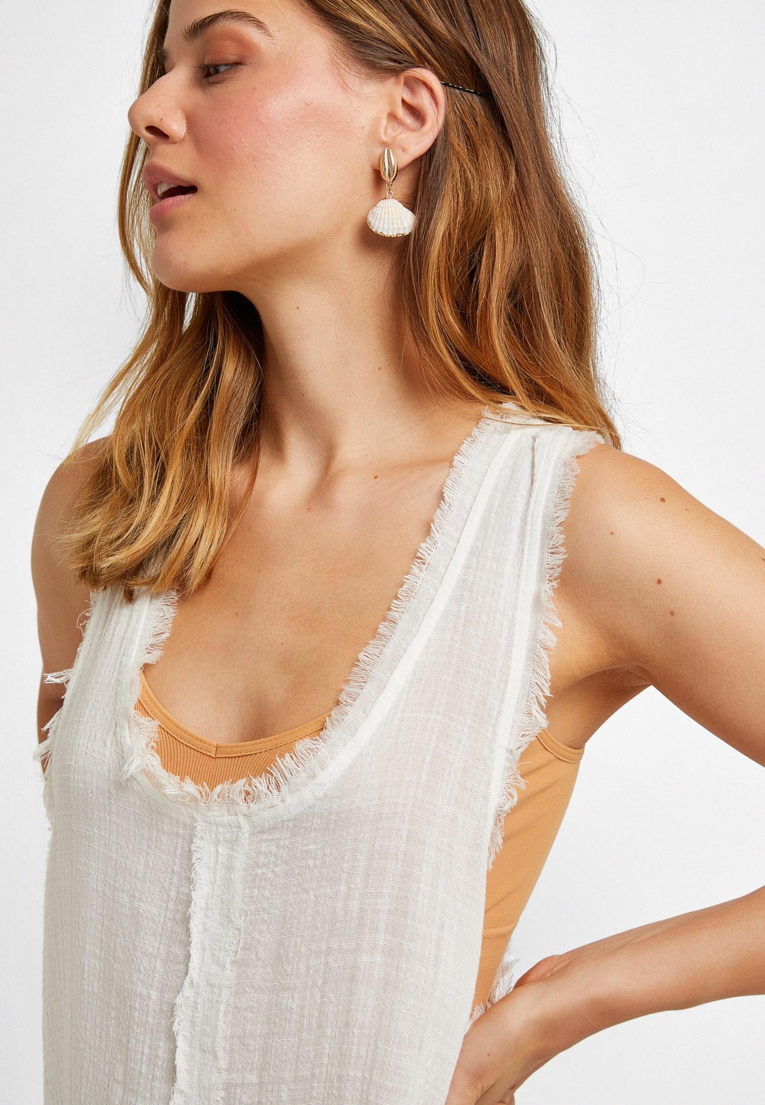 Bayan Krem Pamuklu Uzun Bluz