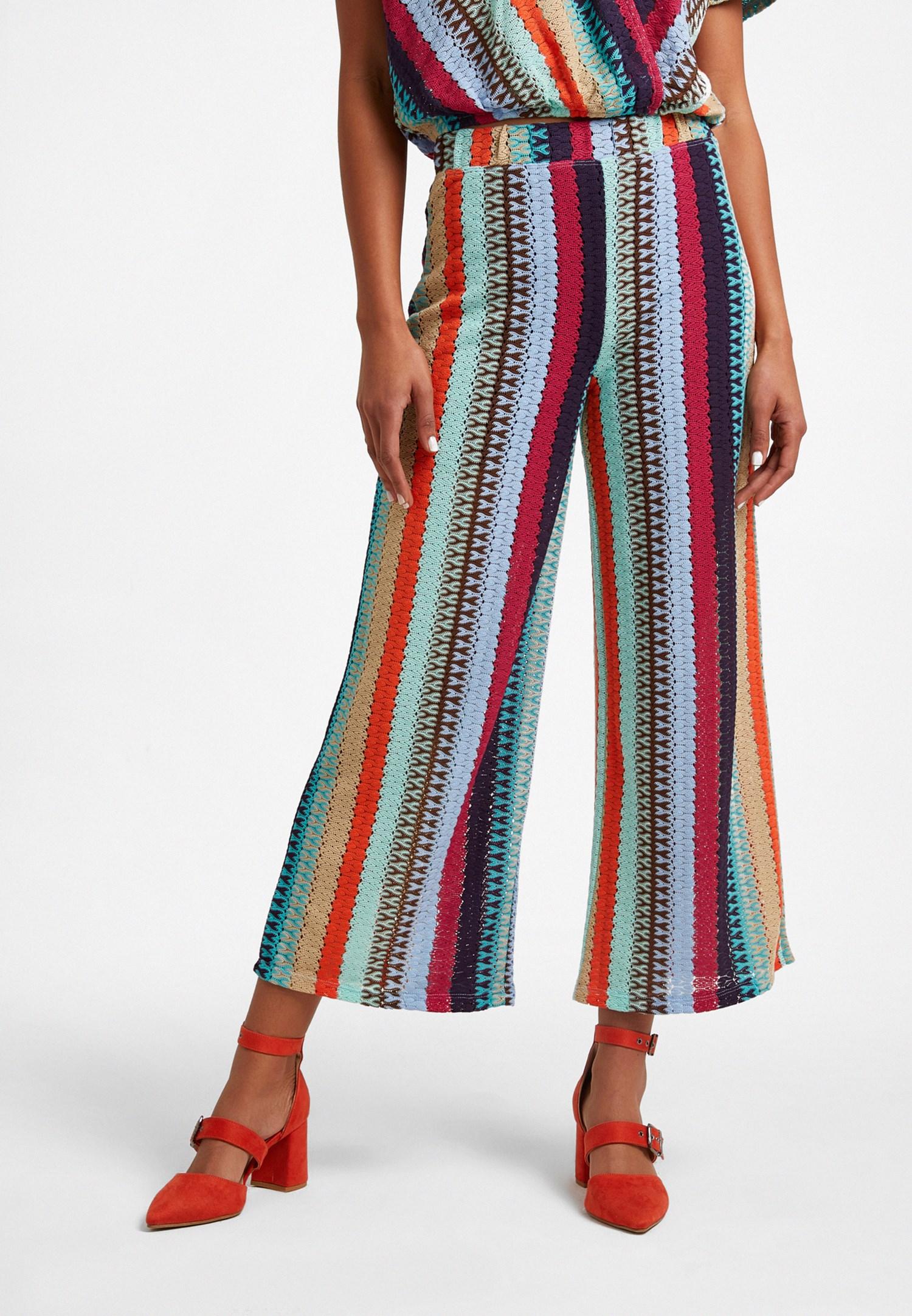 Bayan Çok Renkli Yüksek Bel Culotte Pantolon