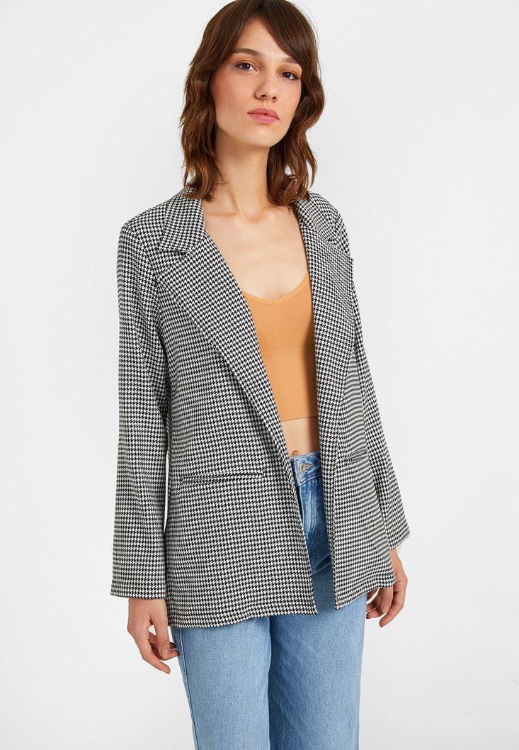 Siyah Kazayağı Desenli Blazer Ceket