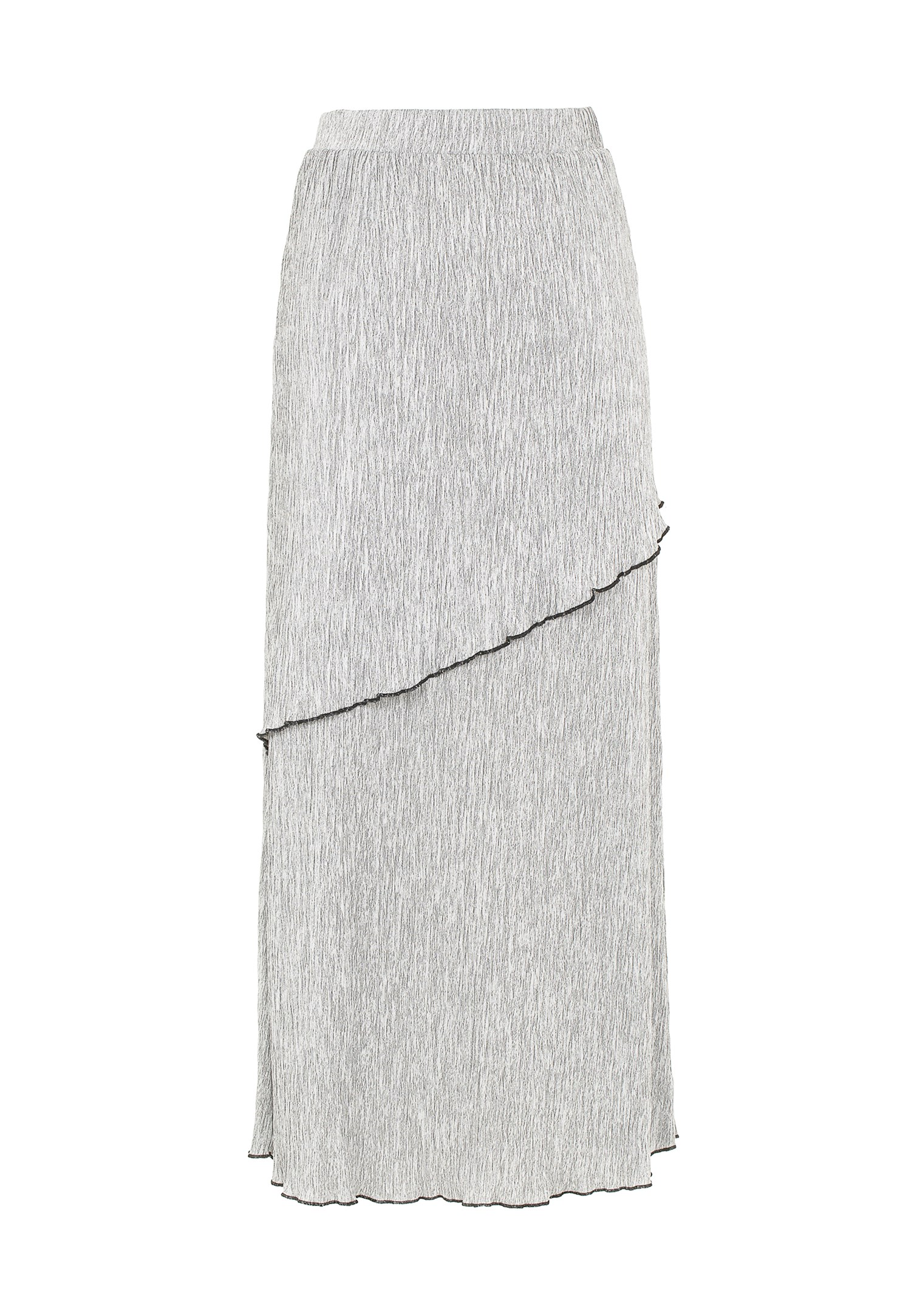 Bayan Gri Pili Detaylı Uzun Etek