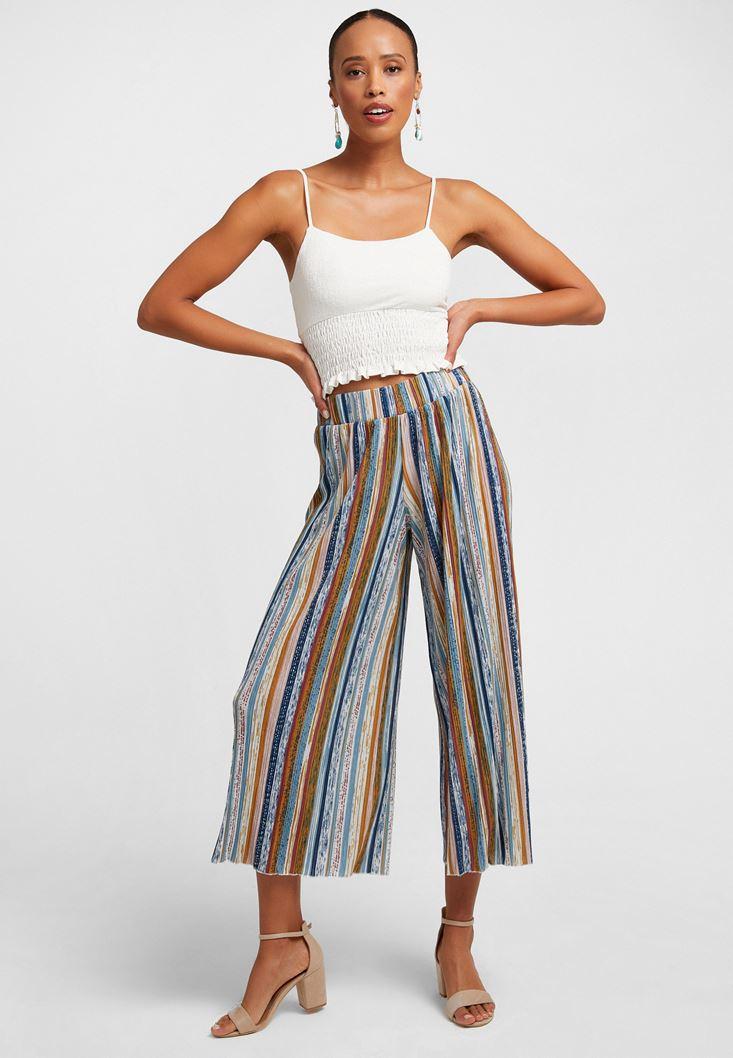 Çok Renkli Desenli Culotte Pantolon