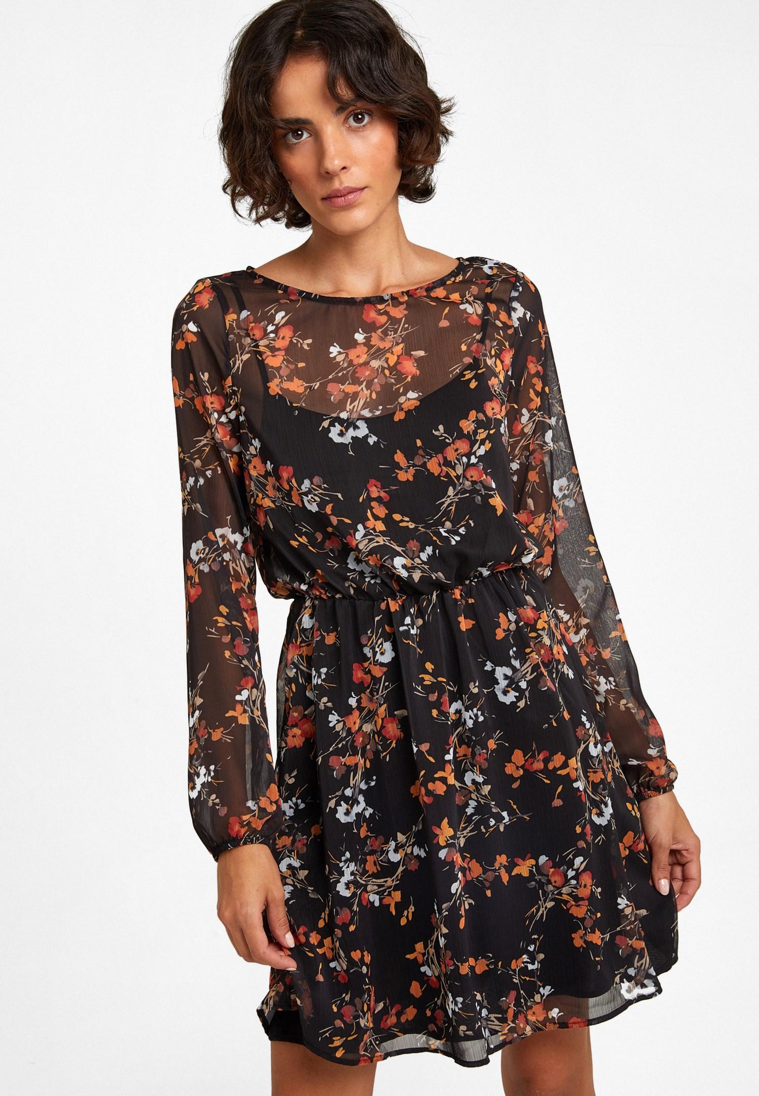 Bayan Çok Renkli Çiçek Desenli Mini Elbise