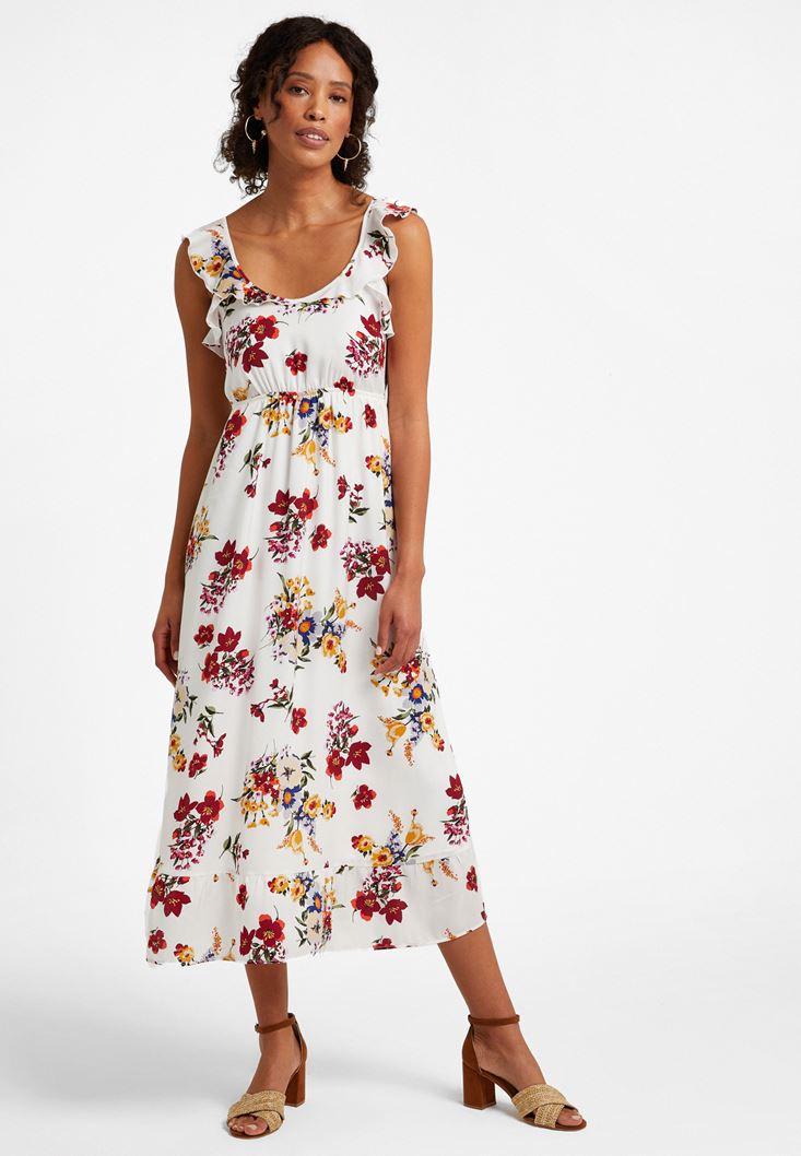Çok Renkli Çiçek Desenli Uzun Elbise