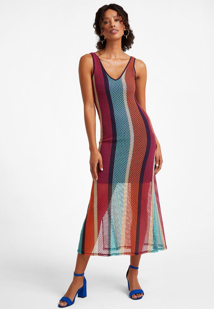 Çok Renkli Uzun File Elbise