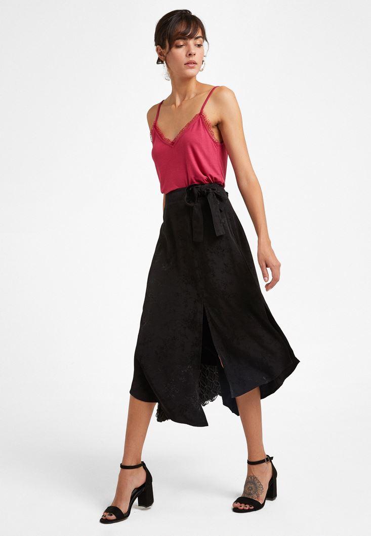 Black Jacquard Midi Skirt with Knot