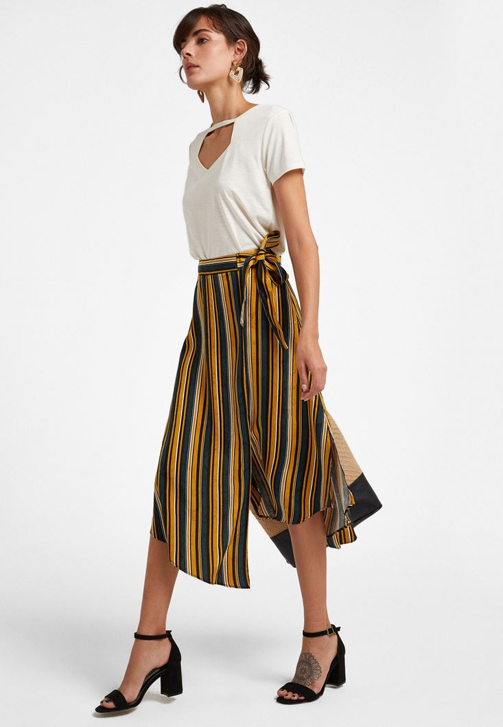Mixed Jacquard Midi Skirt with Knot