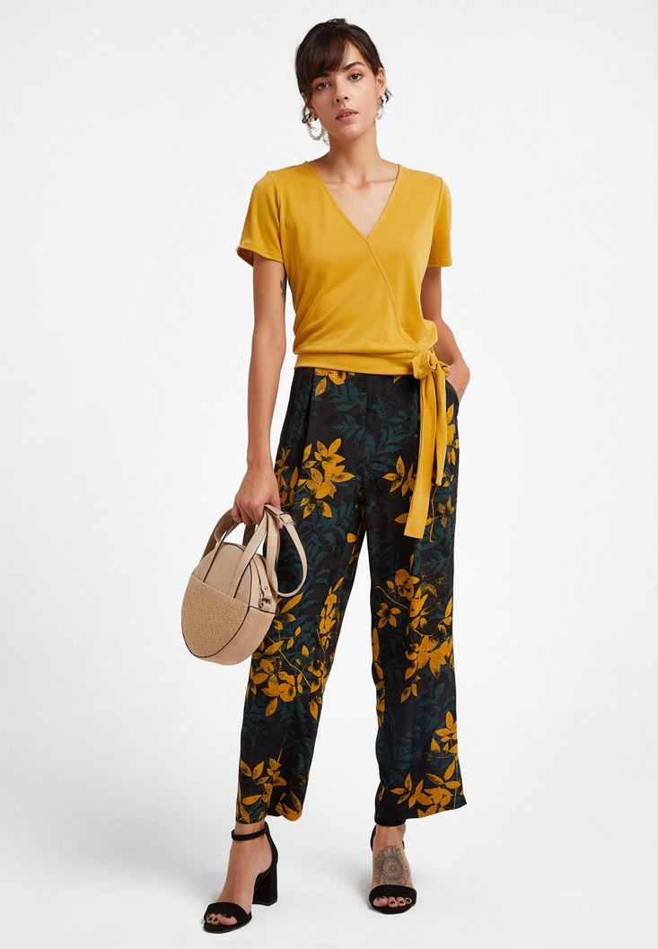 Mixed Jacquard Wide-Leg Trousers