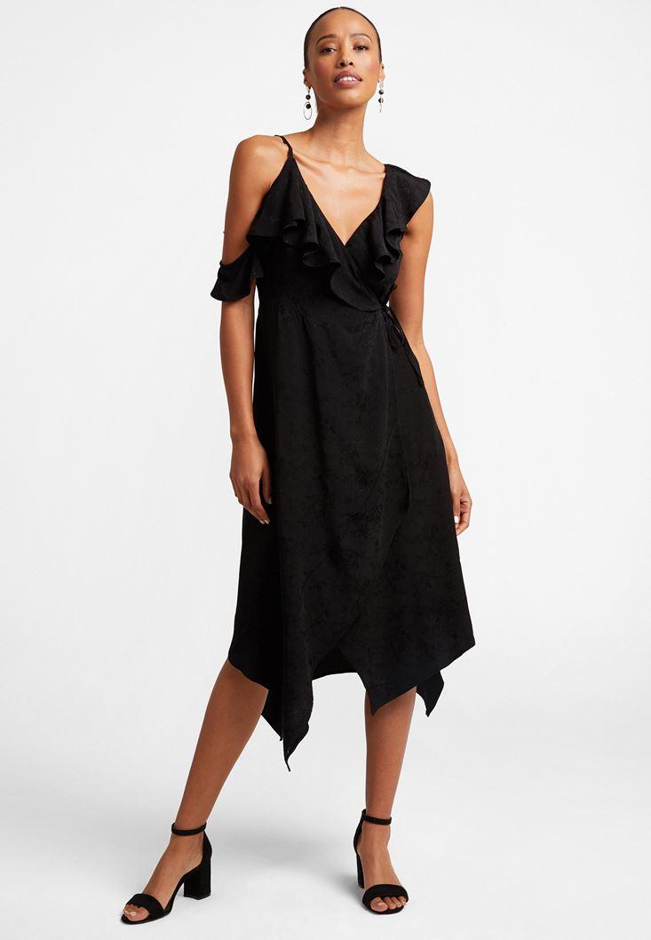 Siyah Volan Detaylı Midi Elbise