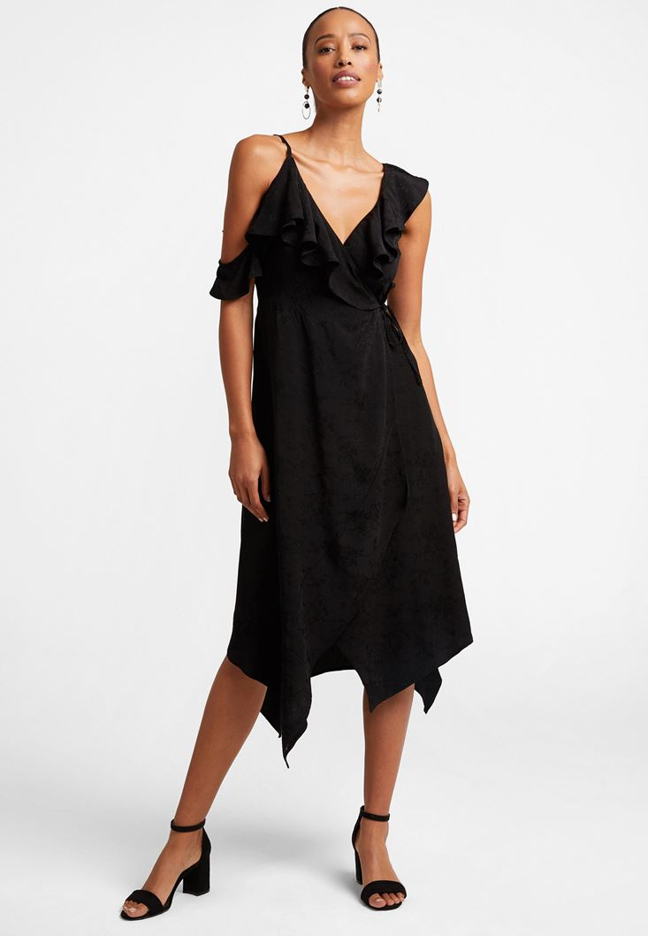 Black Ruffled Jacquard Dress