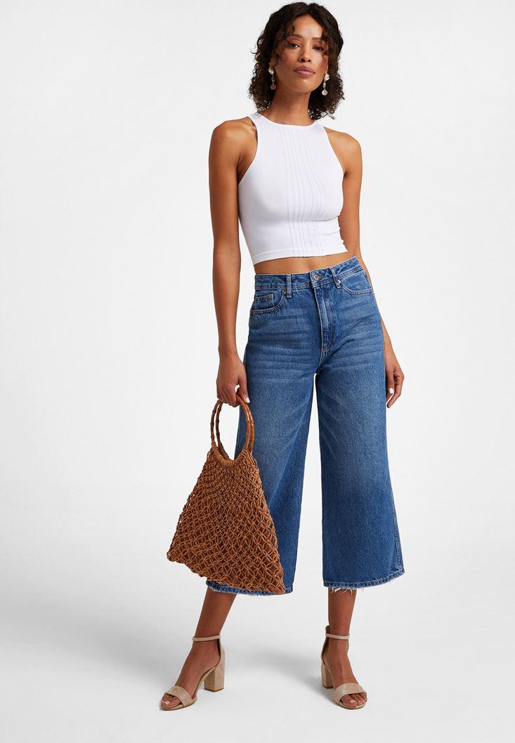 Mavi Yüksek Bel Culotte Denim Pantolon