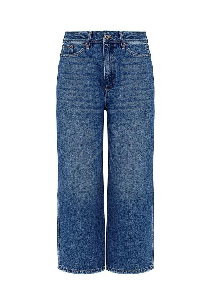 Yüksek Bel Culotte Denim Pantolon