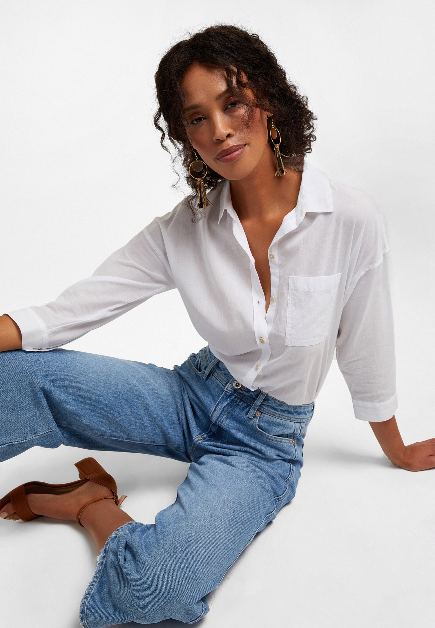 Bayan Mavi Yüksek Bel Culotte Denim Pantolon