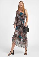Bayan Çok Renkli Tek Omuz Desenli Elbise